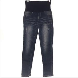 YMI Skinny Distressed Maternity Jeans EUC